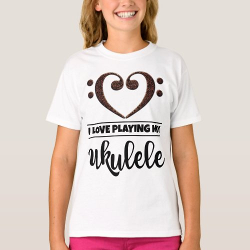 Double Bass Clef Heart I Love Playing My Ukulele Musician Ukulelist T-Shirt