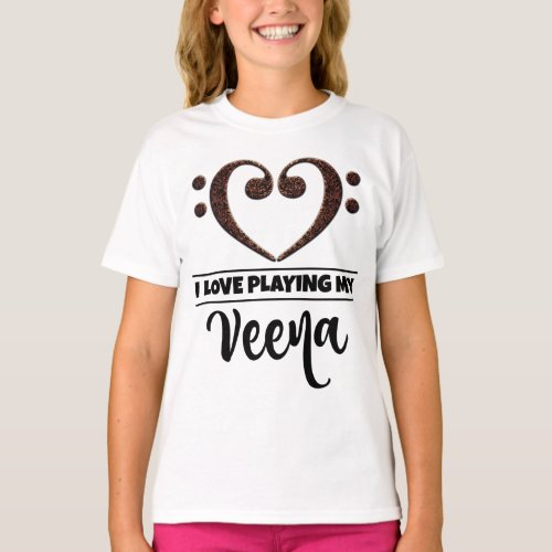 Double Bass Clef Heart I Love Playing My Veena Musician Vainika T-Shirt