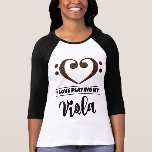 Double Bass Clef Heart I Love Playing My Viola Musician T-Shirt