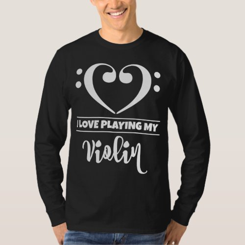 Double Bass Clef Heart I Love Playing My Violin Musician T-Shirt
