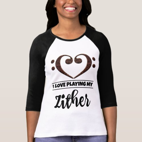 Double Bass Clef Heart I Love Playing My Zither Musician T-Shirt