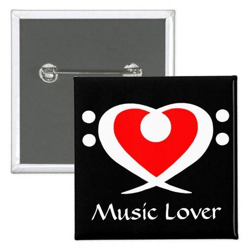 Bass Clef Heart Music Lover Button