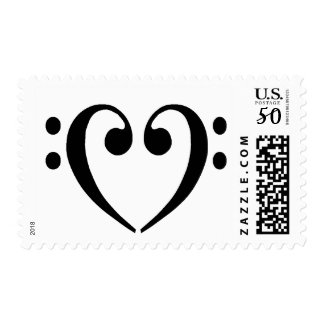 Bass Clef Heart Postage