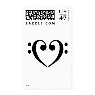 Bass Clef Heart Postage Stamp