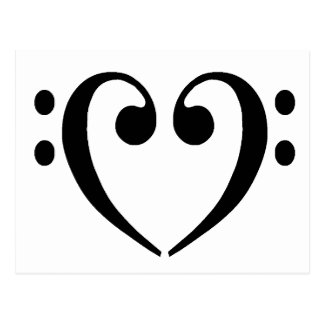 Bass Clef Heart Postcard