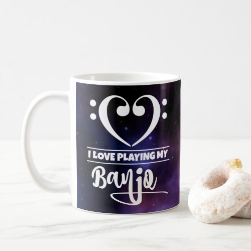 Bass Clef Heart Purple Nebula I Love Playing My Banjo Coffee Mug