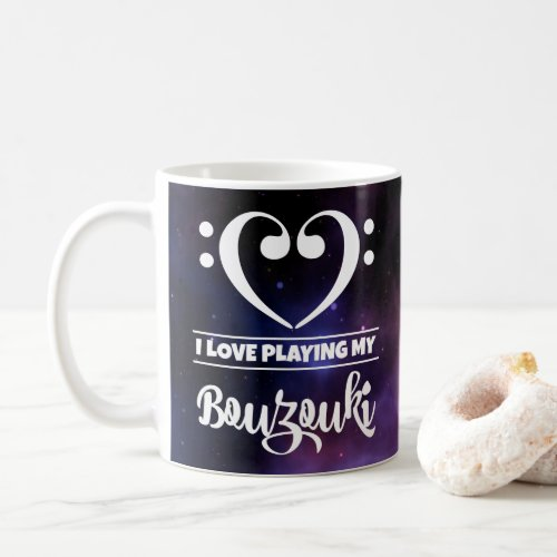 Bass Clef Heart Purple Nebula I Love Playing My Bouzouki Coffee Mug