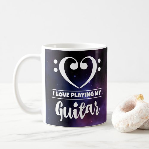 Bass Clef Heart Purple Nebula I Love Playing My Guitar Coffee Mug