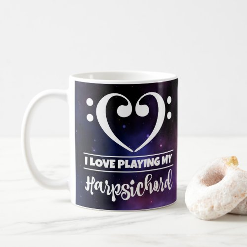 Bass Clef Heart Purple Nebula I Love Playing My Harpsichord Coffee Mug