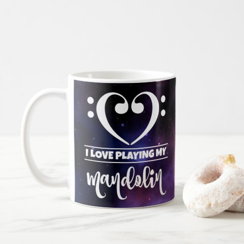 Bass Clef Heart Purple Nebula I Love Playing My Mandolin Coffee Mug