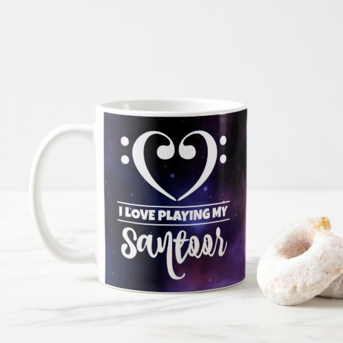 Bass Clef Heart Purple Nebula I Love Playing My Santoor Coffee Mug