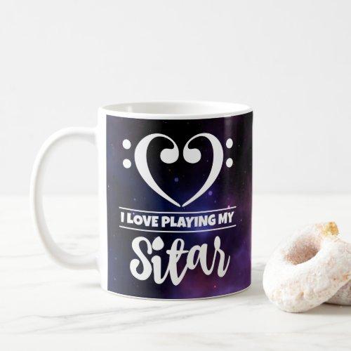 Bass Clef Heart Purple Nebula I Love Playing My Sitar Coffee Mug