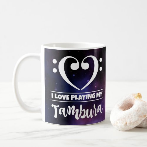 Bass Clef Heart Purple Nebula I Love Playing My Tambura Coffee Mug