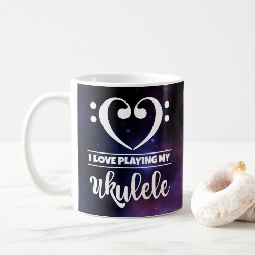 Bass Clef Heart Purple Nebula I Love Playing My Ukulele Coffee Mug