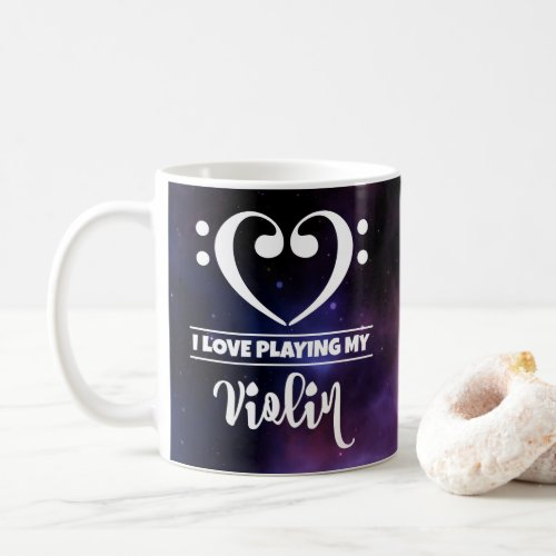 Bass Clef Heart Purple Nebula I Love Playing My Violin Coffee Mug
