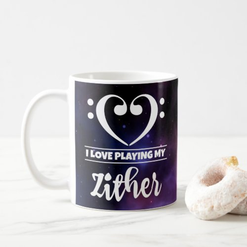 Bass Clef Heart Purple Nebula I Love Playing My Zither Coffee Mug