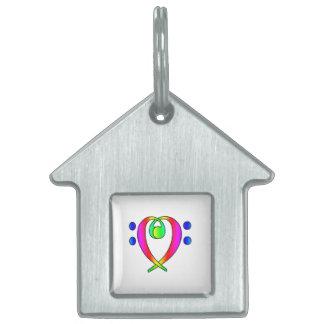 Bass Clef Heart Rainbow Gradient Pet ID Tag