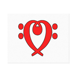 bass clef heart red canvas print