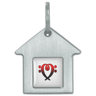 Bass clef heart red to black pet name tag