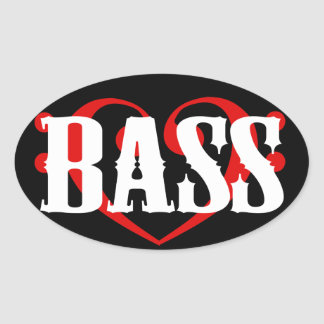 Bass Clef Heart Oval Sticker