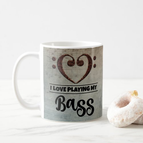 Bass Clef Heart Vintage Sheet Music I Love Playing My Bass Coffee Mug