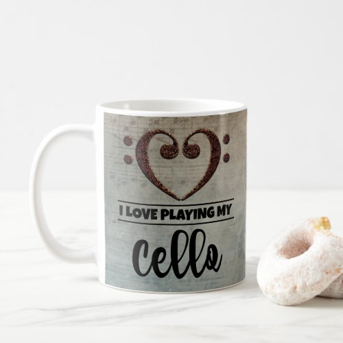 Bass Clef Heart Vintage Sheet Music I Love Playing My Cello Coffee Mug