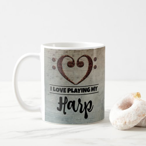 Bass Clef Heart Vintage Sheet Music I Love Playing My Harp Coffee Mug