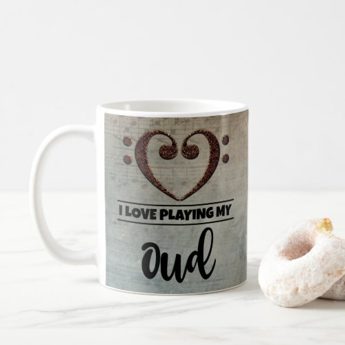 Bass Clef Heart Vintage Sheet Music I Love Playing My Oud Coffee Mug