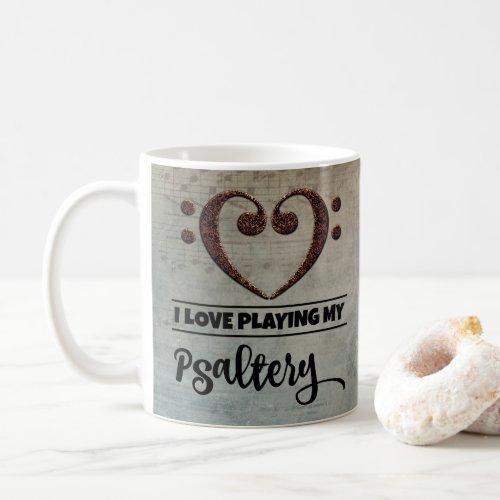 Bass Clef Heart Vintage Sheet Music I Love Playing My Psaltery Coffee Mug