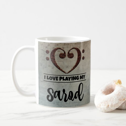 Bass Clef Heart Vintage Sheet Music I Love Playing My Sarod Coffee Mug