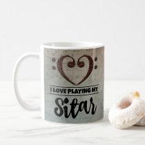 Bass Clef Heart Vintage Sheet Music Sitar Coffee Mug