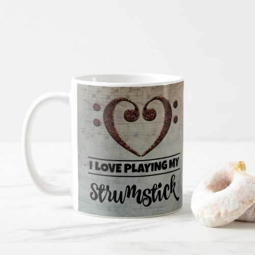 Bass Clef Heart Vintage Sheet Music I Love Playing My Strumstick Coffee Mug