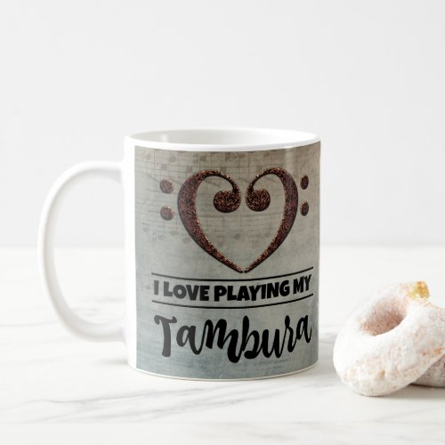 Bass Clef Heart Vintage Sheet Music I Love Playing My Tambura Coffee Mug