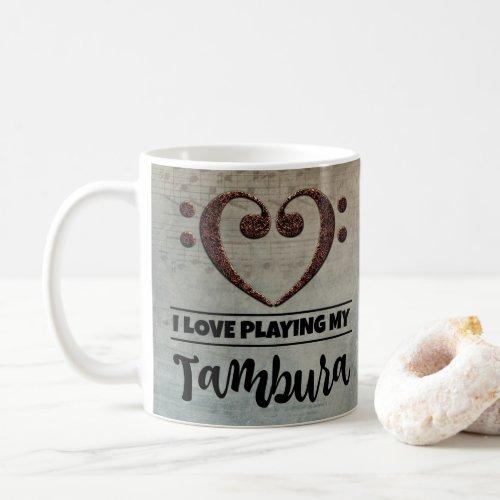 Bass Clef Heart Vintage Sheet Music I Love Playing My Tambura Coffee Mug