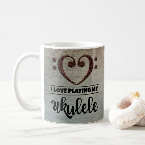 Bass Clef Heart Vintage Sheet Music I Love Playing My Ukulele Coffee Mug