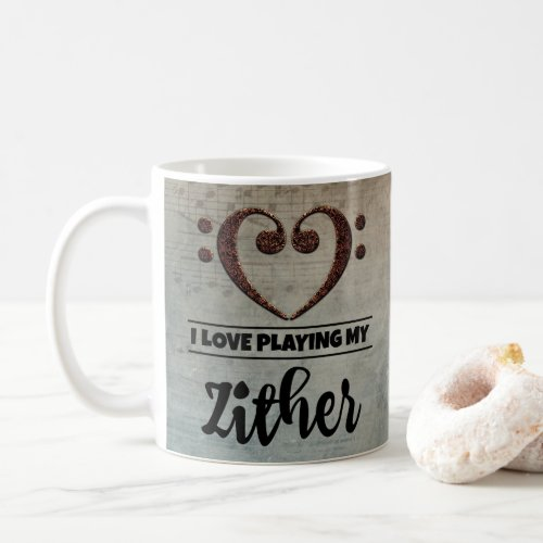 Bass Clef Heart Vintage Sheet Music I Love Playing My Zither Coffee Mug