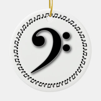 Bass Clef Music Note Design Ceramic Ornament