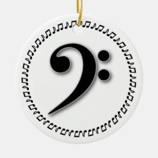 Bass Clef Music Note Design Ceramic Ornament