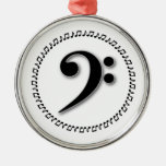 Bass Clef Music Note Design Christmas Ornaments