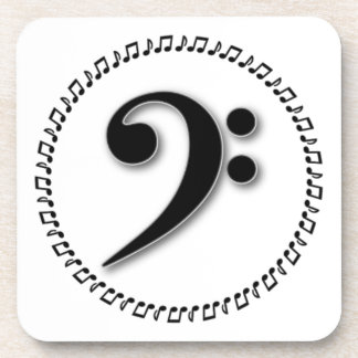 Bass Clef Music Note Design Beverage Coasters