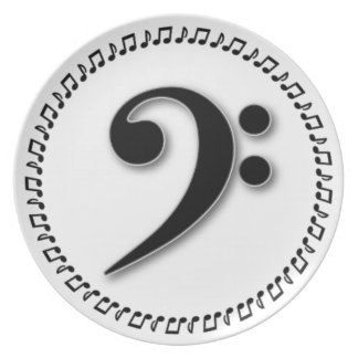Bass Clef Music Note Design Dinner Plate