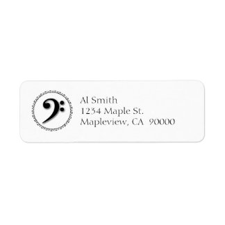 Bass Clef Music Note Design Return Address Label