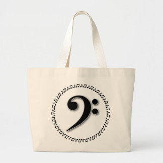 Bass Clef Music Note Design Large Tote Bag