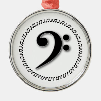Bass Clef Music Note Design Metal Ornament