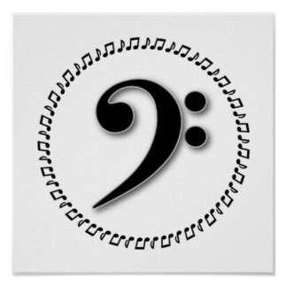 Bass Clef Music Note Design Poster