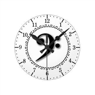 Bass Clef Music Note Design Round Clock