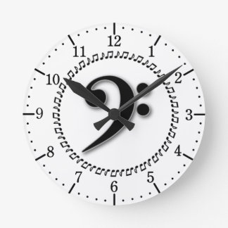 Bass Clef Music Note Design Round Wall Clock