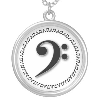 Bass Clef Music Note Design Silver Plated Necklace