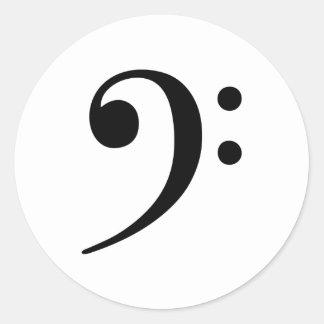Bass Clef Music Symbol Classic Round Sticker