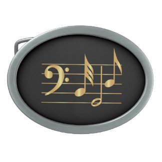 Bass clef oval belt buckle